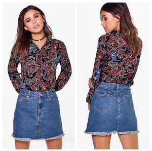 Boohoo Lana Paisley Print Oversized Button Shirt